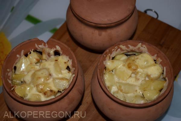 горшочки с запеченной картошкой курицей и грибами