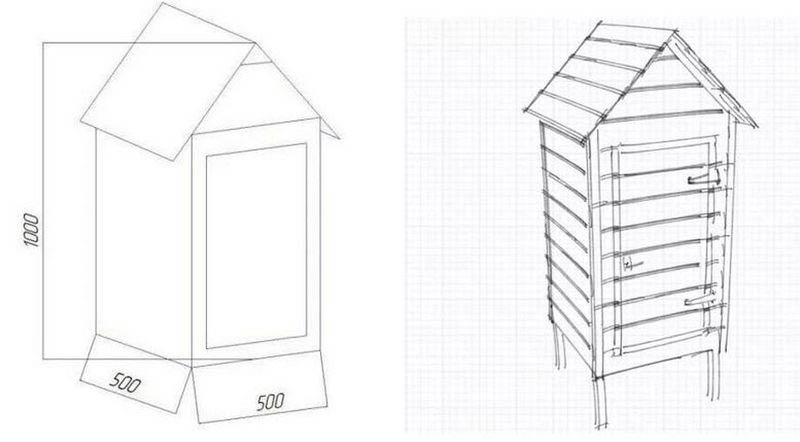 чертеж деревянной коптильни